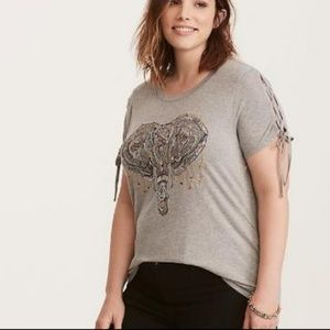"""""""TORRIS T-Shirt Lace Up Sleeves Flower Embroidery"""